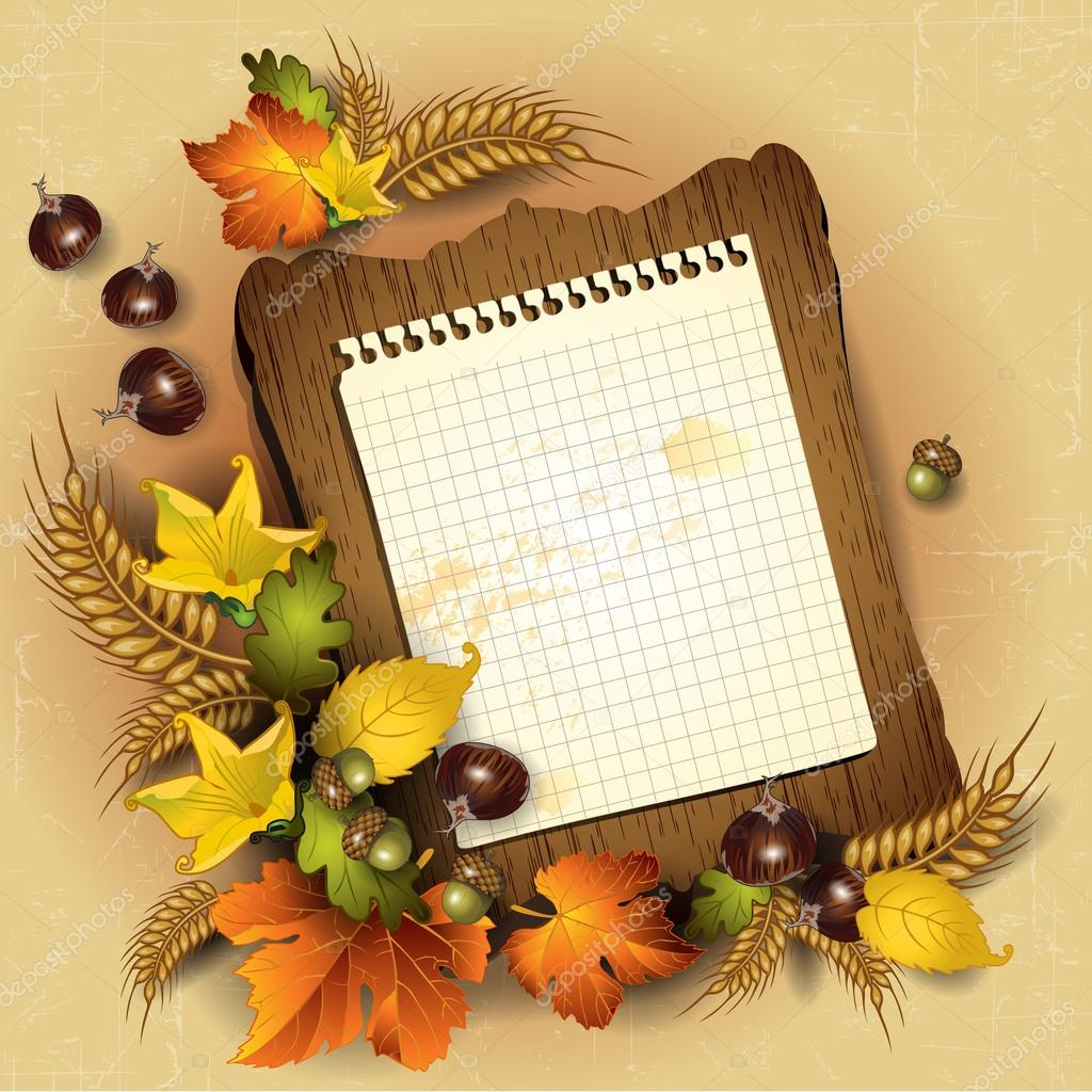 Autumn leaves and sheet