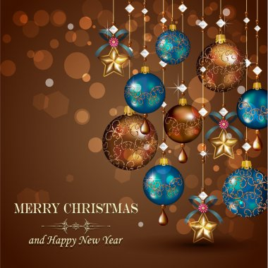 Christmas greeting cards with bronze and gold balls