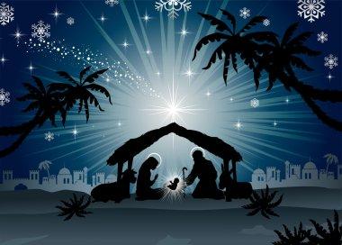 Holy Family in Bethlehem silhouette