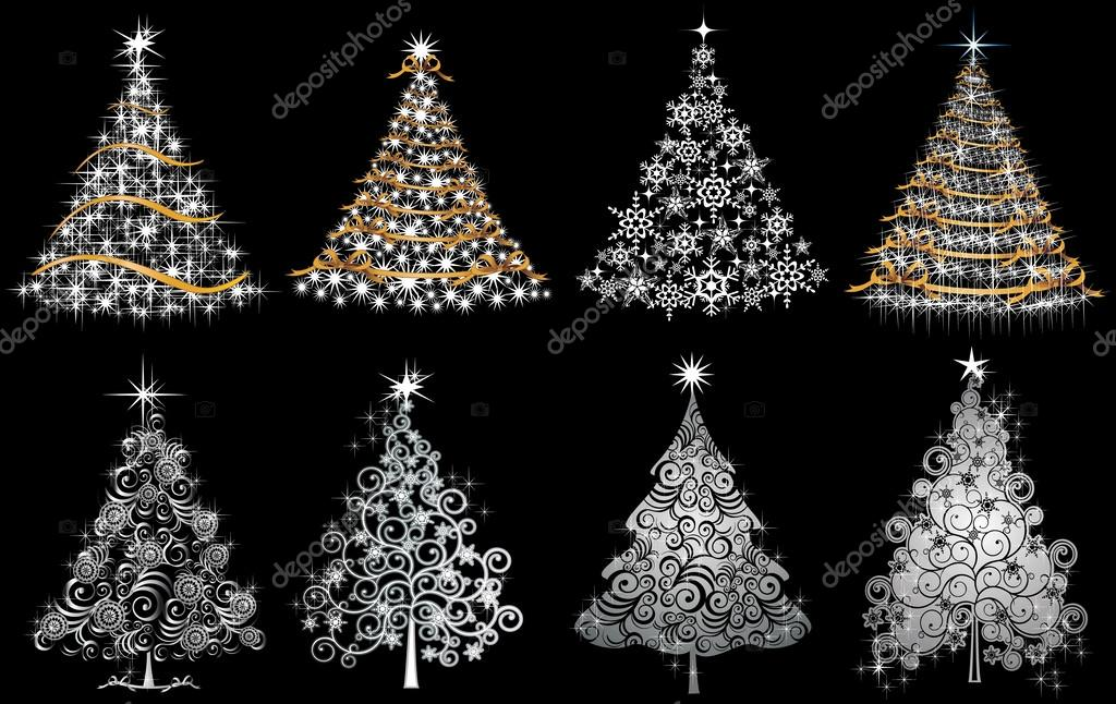 Set trees gold and silver
