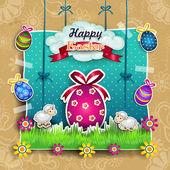 Velikonoční vajíčko s kreslenými ovce