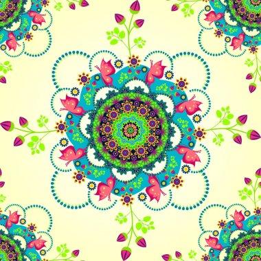 Mandala flower and butterflies