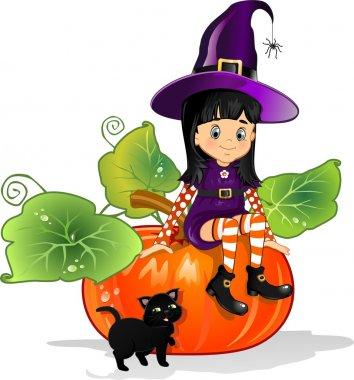 Witch girl with cat sitting on pumpkin