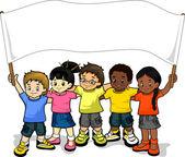 Kinder mit Banner