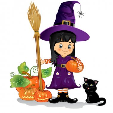 Girl witch with cat, pumpkins