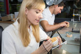Fotografie Zahntechniker arbeiten bei Artikulator