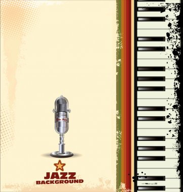 Jazz background with old microphone