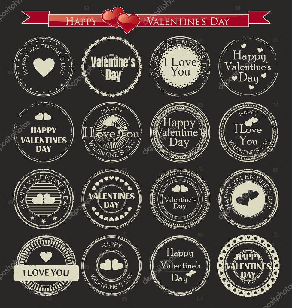Valentines Day Labels. Vector illustration.