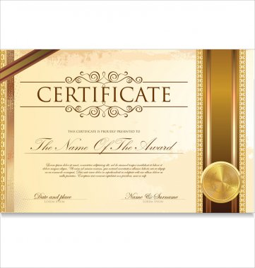 Certificate or diploma template, vector illustration