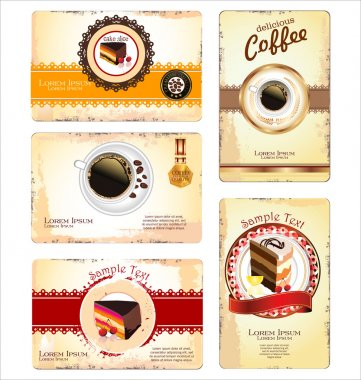 Coffee,tea and cakes menu or business card template