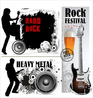 Hard and heavy metal banner set