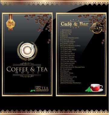 Coffee and tea menu