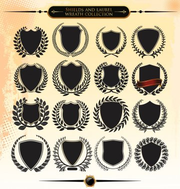 Shields and laurel wreath collection