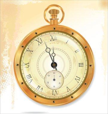 Old pocket gold watch detailed illustration. No transparency
