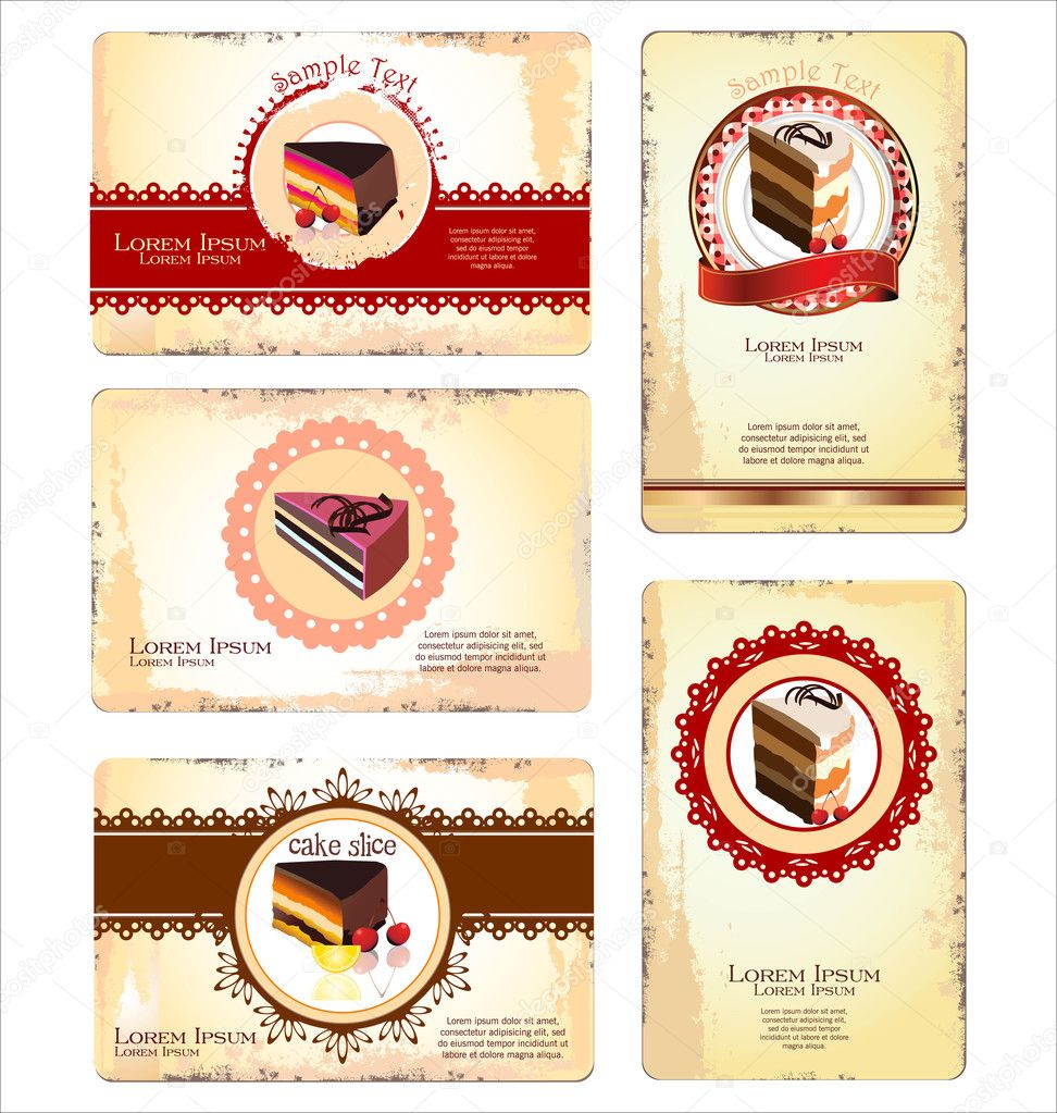 Coffee,tea and cakes menu or business card template — Stock Vector ...