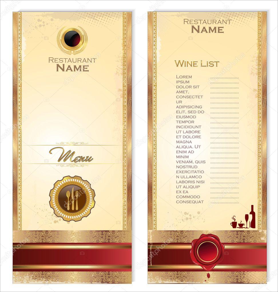 plantilla de lujo para una lista de menú o el vino del restaurante ...