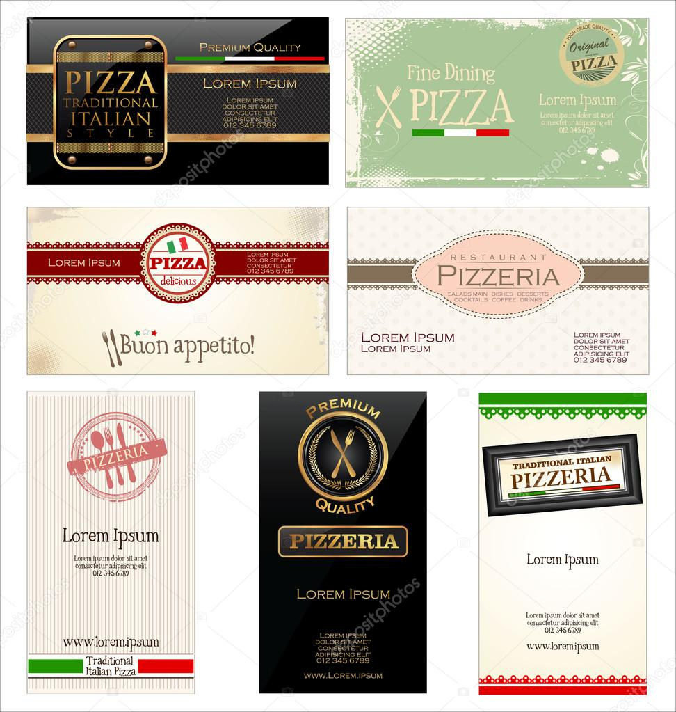 Ensemble De 7 Cartes Visite Pour Pizzeria Et Restaurant Image Vectorielle