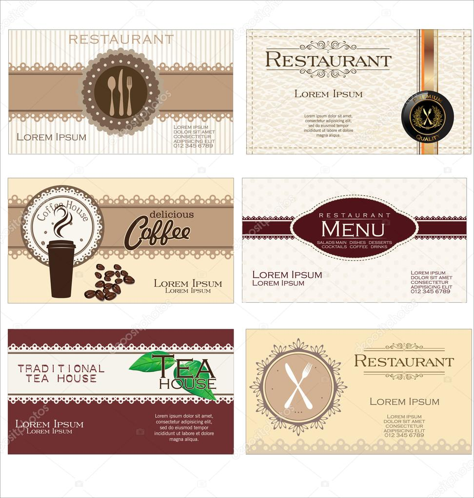Set of 6 detailed business cards for cafe and restaurant stock set of 6 detailed business cards for cafe and restaurant stock vector reheart Choice Image