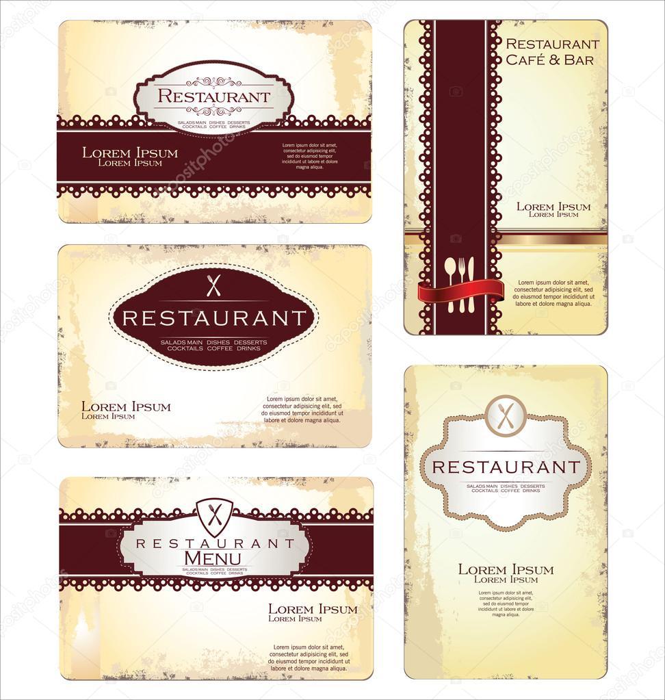 Ensemble De 5 Cartes Visite Pour Caf Et Restaurant Image Vectorielle