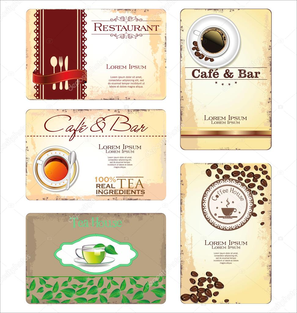 Business cards for cafe and restaurant stock vector totallyout business cards for cafe and restaurant stock vector reheart Choice Image