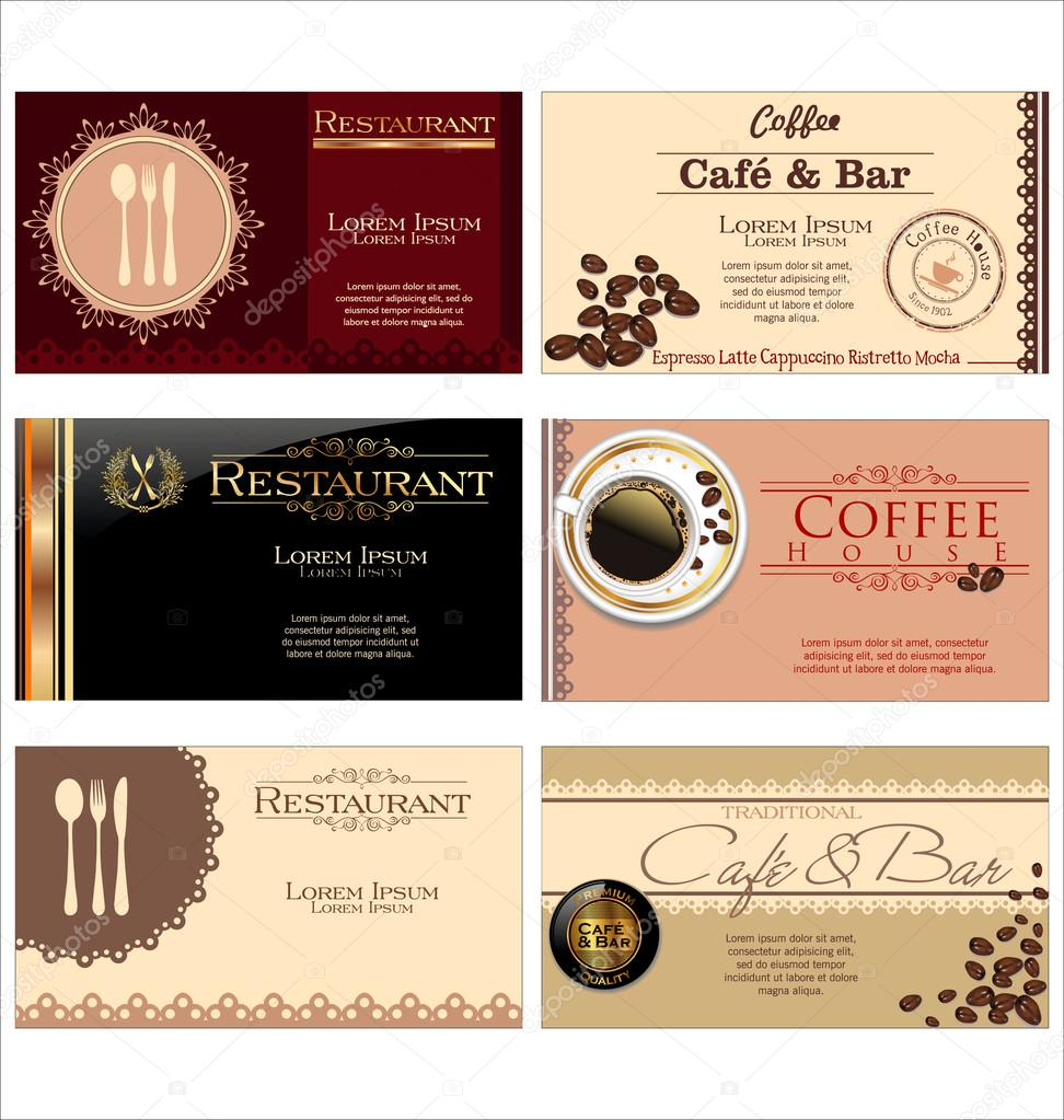 Business cards for cafe and restaurant stock vector totallyout business cards for cafe and restaurant stock vector colourmoves