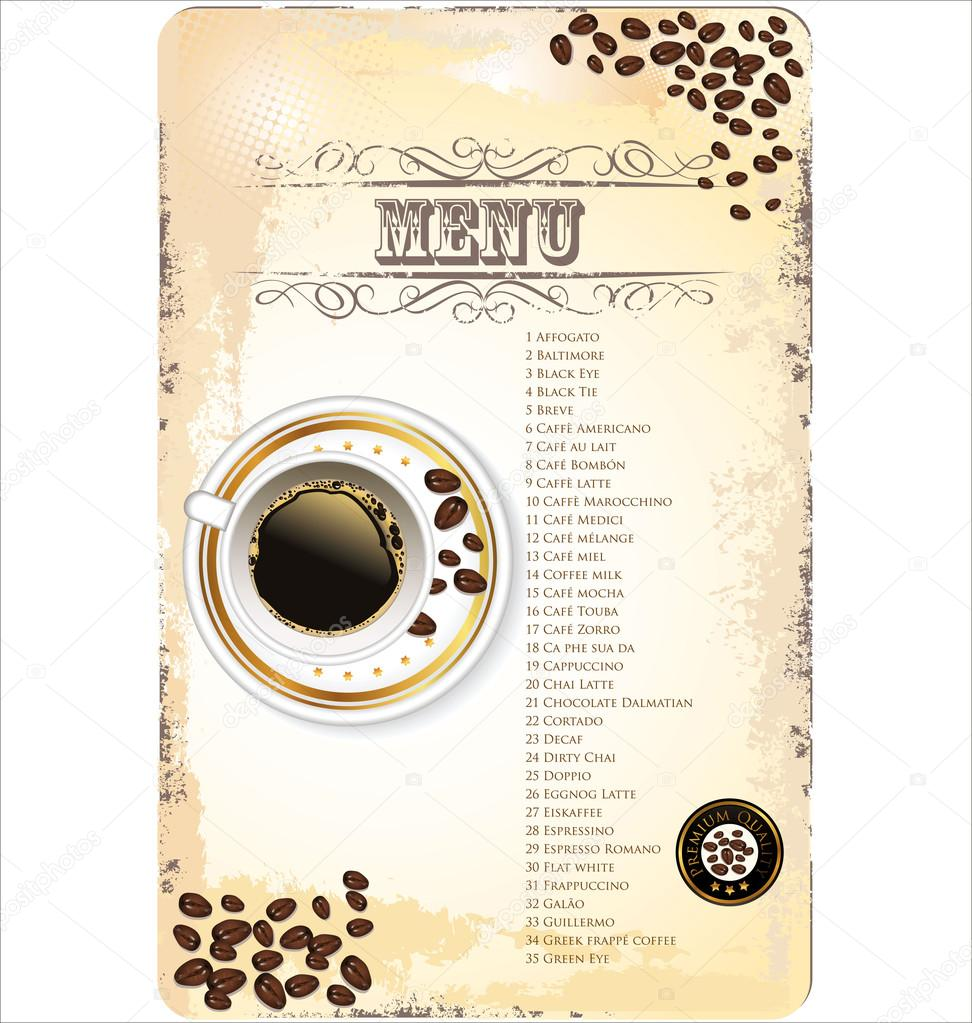 Coffee Shop Menu Template Stock Vector