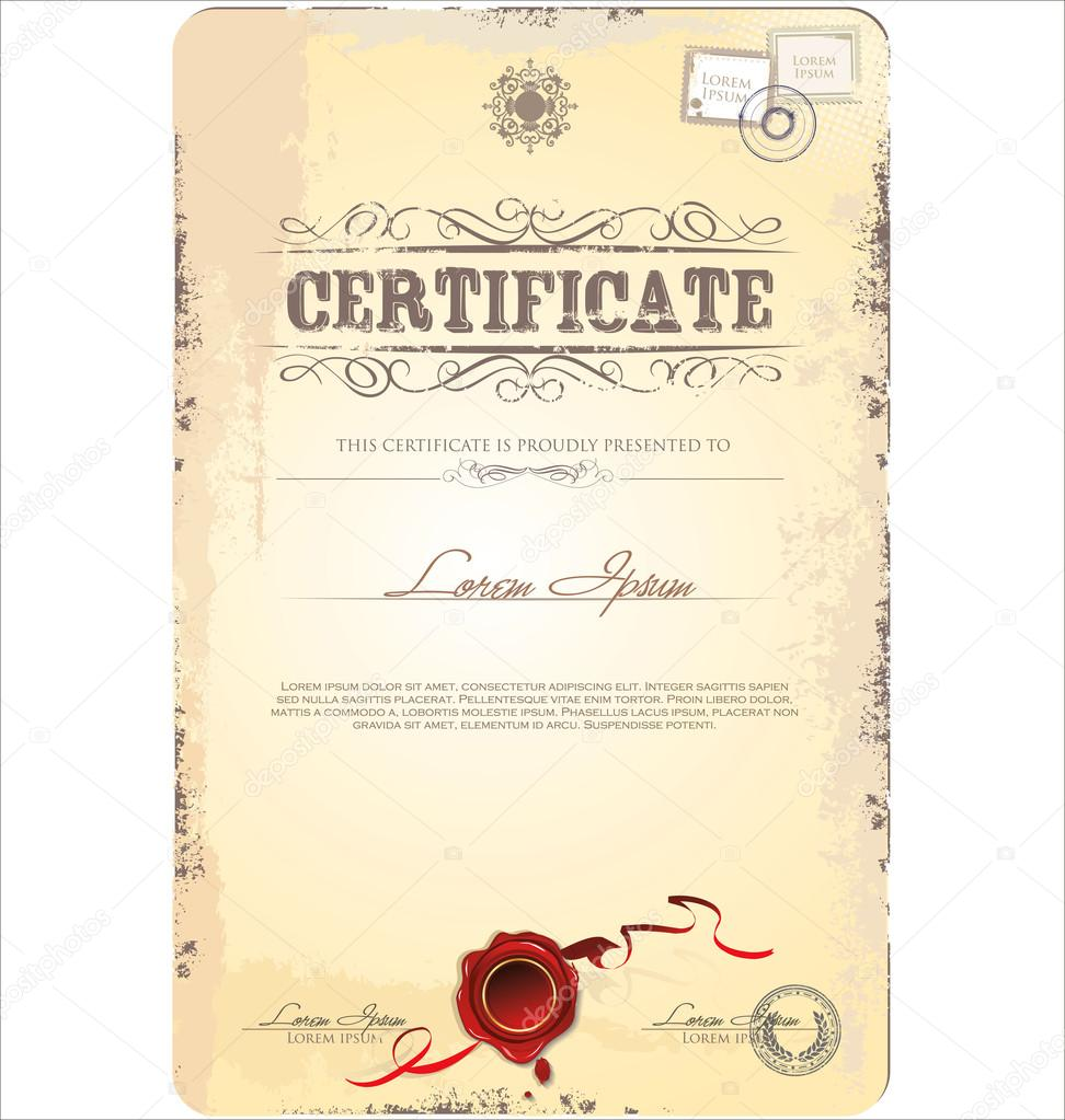 alte Vintage Zertifikat-Vorlage-Vektor-illustration — Stockvektor ...