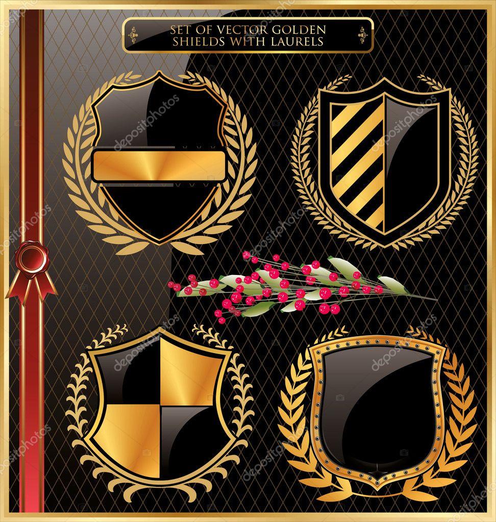 Set of vector golden shields with laurels