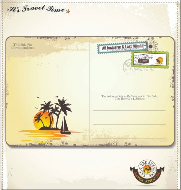 Vintage summer postcard clip art vector