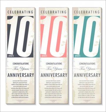 10 years Anniversary retro banner, set