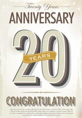 20 years Anniversary retro background