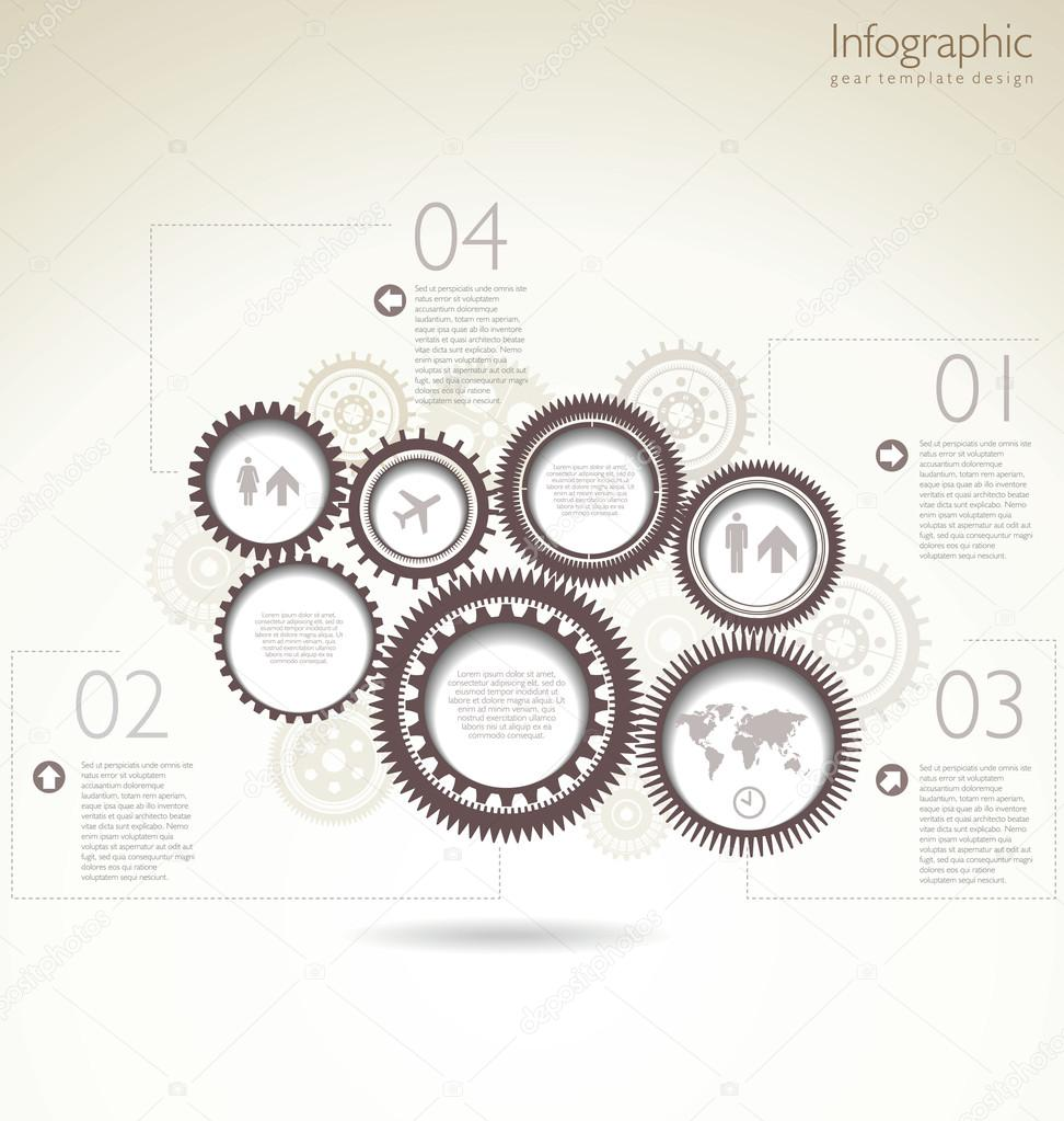 infographic gear template design stock vector totallyout 32134129