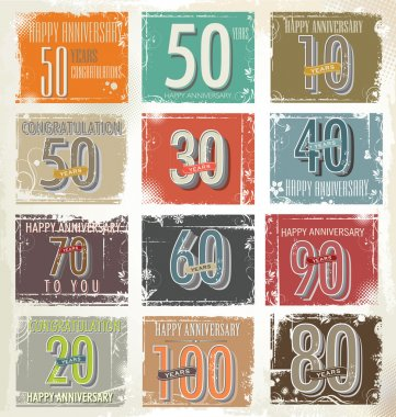 Collection of retro grunge anniversary labels