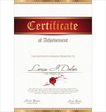 Illustration of gold detailed certificate