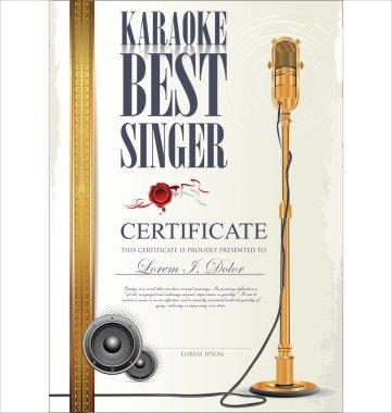 Karaoke certificate template, best singer