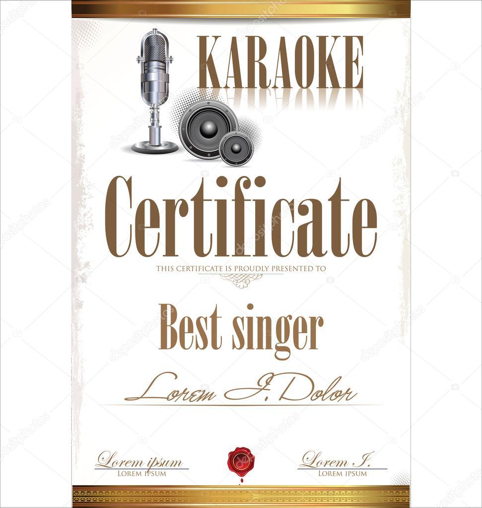 Karaoke certificate template best singer stock vector karaoke certificate template best singer stock vector yadclub Images