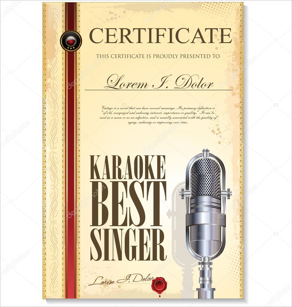 Karaoke-Zertifikatvorlage, bester Sänger — Stockvektor © totallyout ...