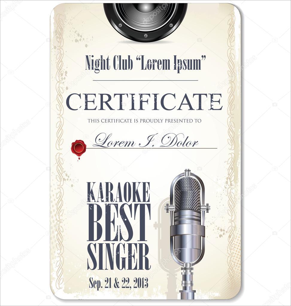 erste Auszeichnung Zertifikatvorlage karaoke — Stockvektor ...