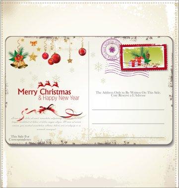 Vintage Christmas postcard clip art vector