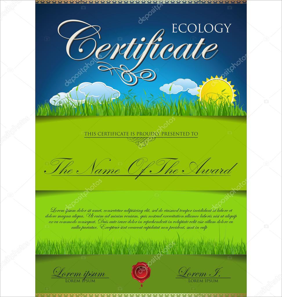 Green certificate template