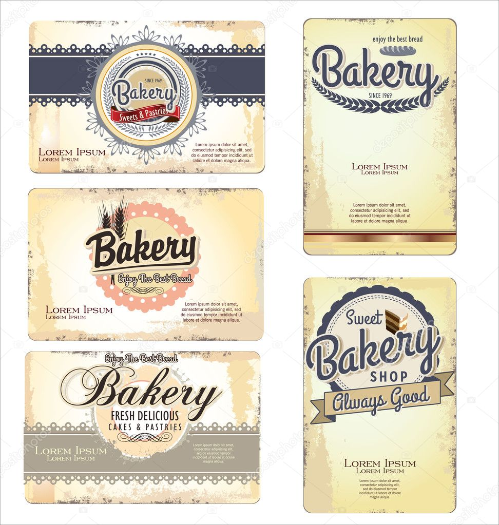 Set of 5 bakery retro business card templates stock vector set of 5 bakery retro business card templates stock vector accmission Gallery