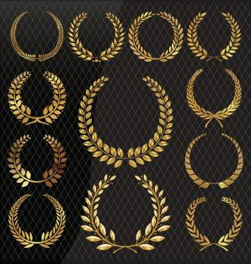 Golden laurel wreath, set