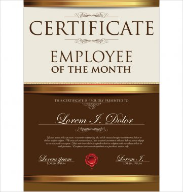 Certificate, employee of the month