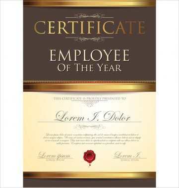 Certificate, employee of the year