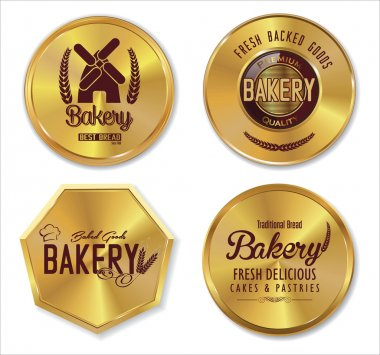 Set of golden bakery labels