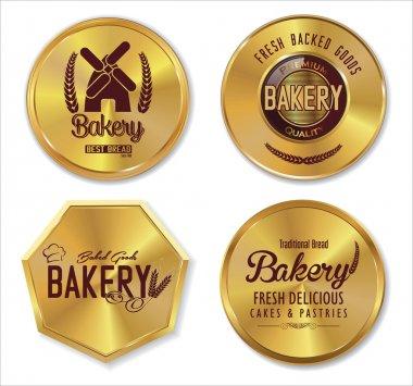 Set of golden bakery labels