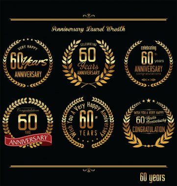 Anniversary laurel wreath retro labels