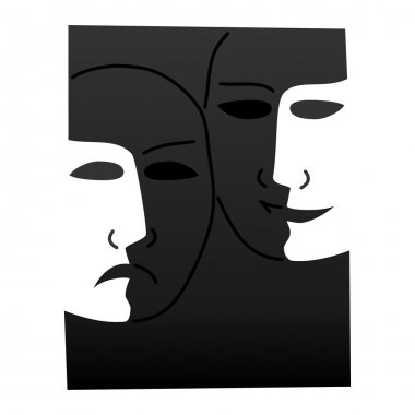 Theatre masks lucky sad - illustration