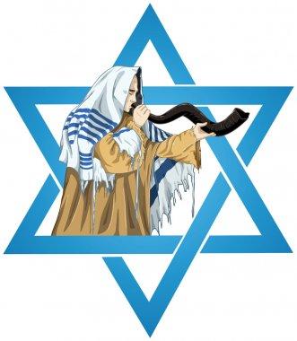 Star Of David Rabbi With Talit Blows The Shofar