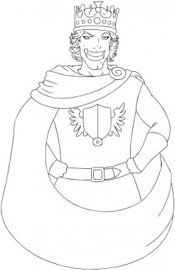 Young King With Crown Coloring Page